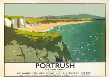 Portrush, White Rocks Beach, County Antrim, Northern Ireland. Vintage LMS Irish Travel poster by Norman Wilkinson